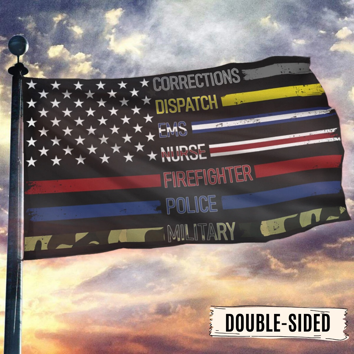 Corrections dispatch ems nurse firefighter police military flag 9