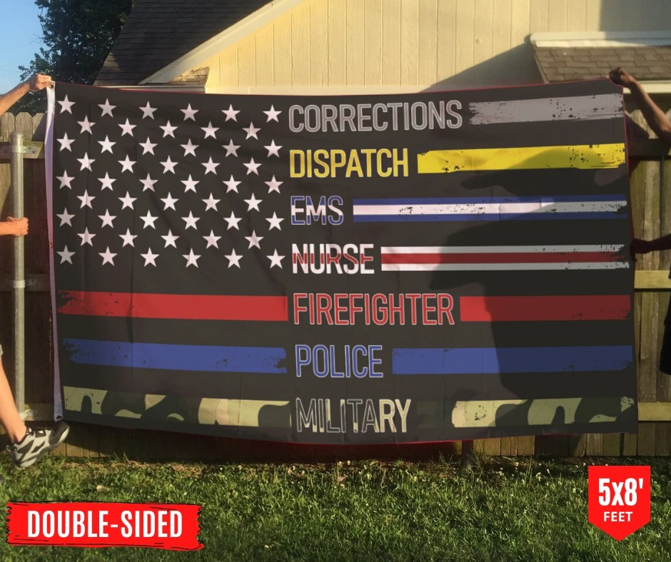 Corrections dispatch ems nurse firefighter police military flag 10
