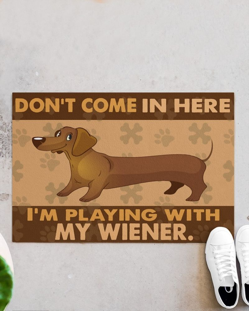 Dachshund don't come in here I'm playing with my wiener doormat 10