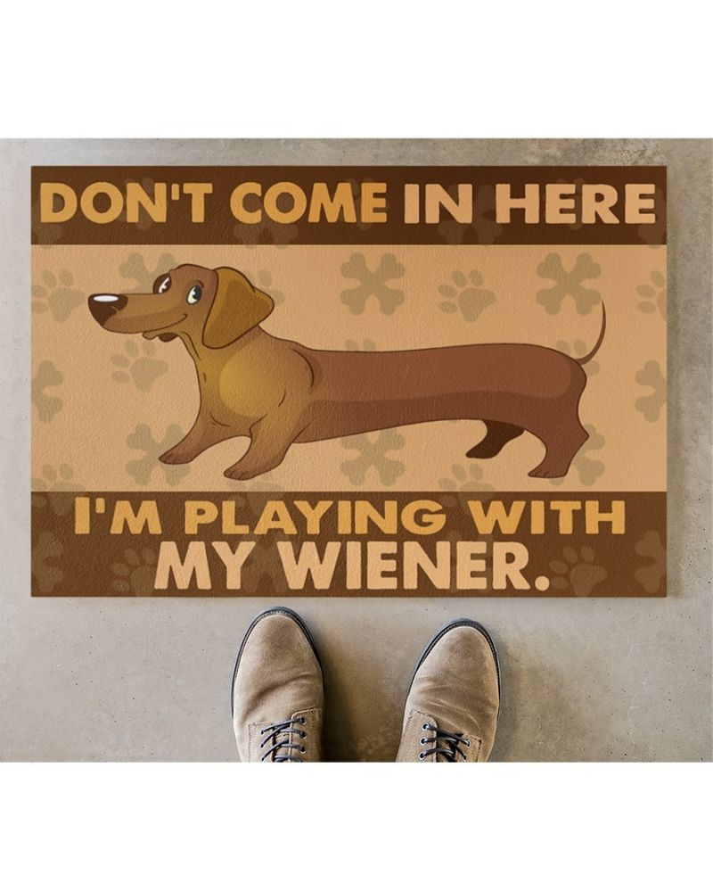 Dachshund don't come in here I'm playing with my wiener doormat 9