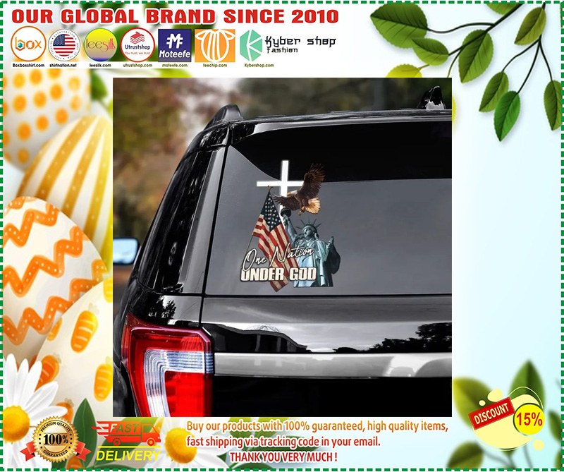 Eagle American flag one nation under god car decal 10