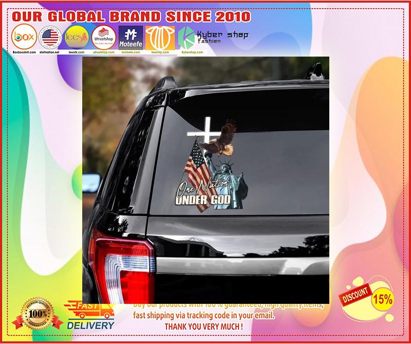 Eagle American flag one nation under god car decal 11