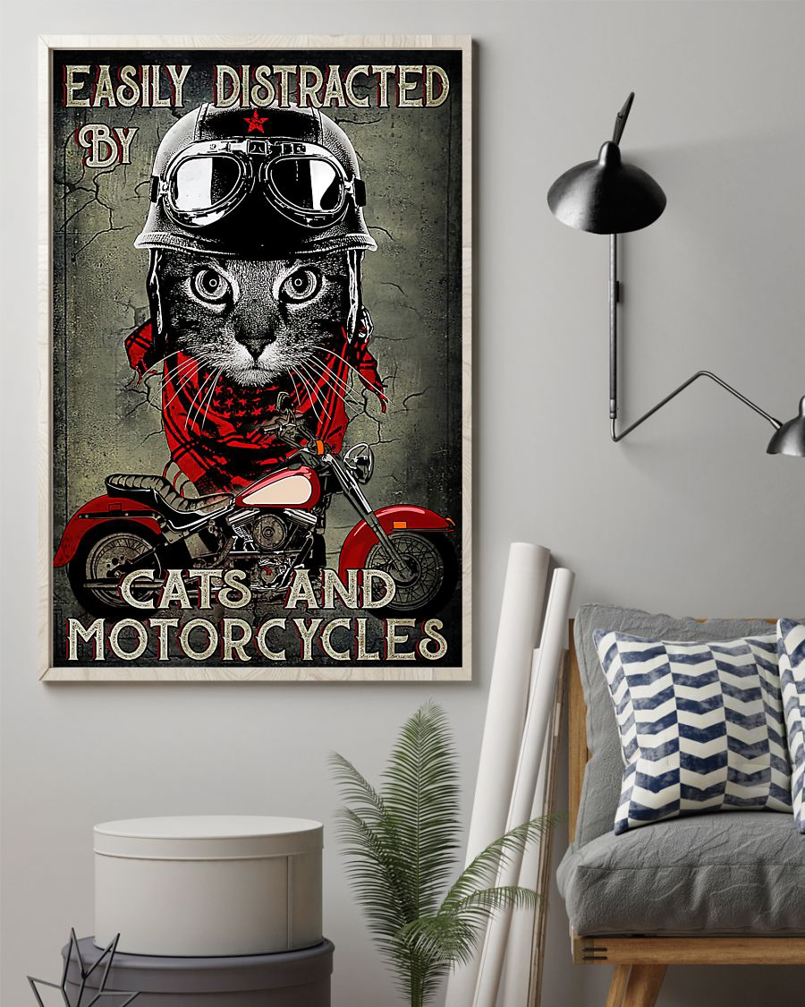 Easily distracted by cats and motorcycles poster 13