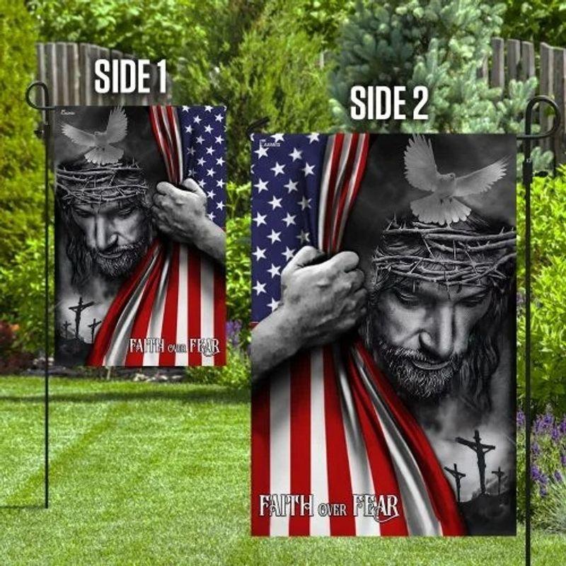 Faith over fear god Jesus American flag 10