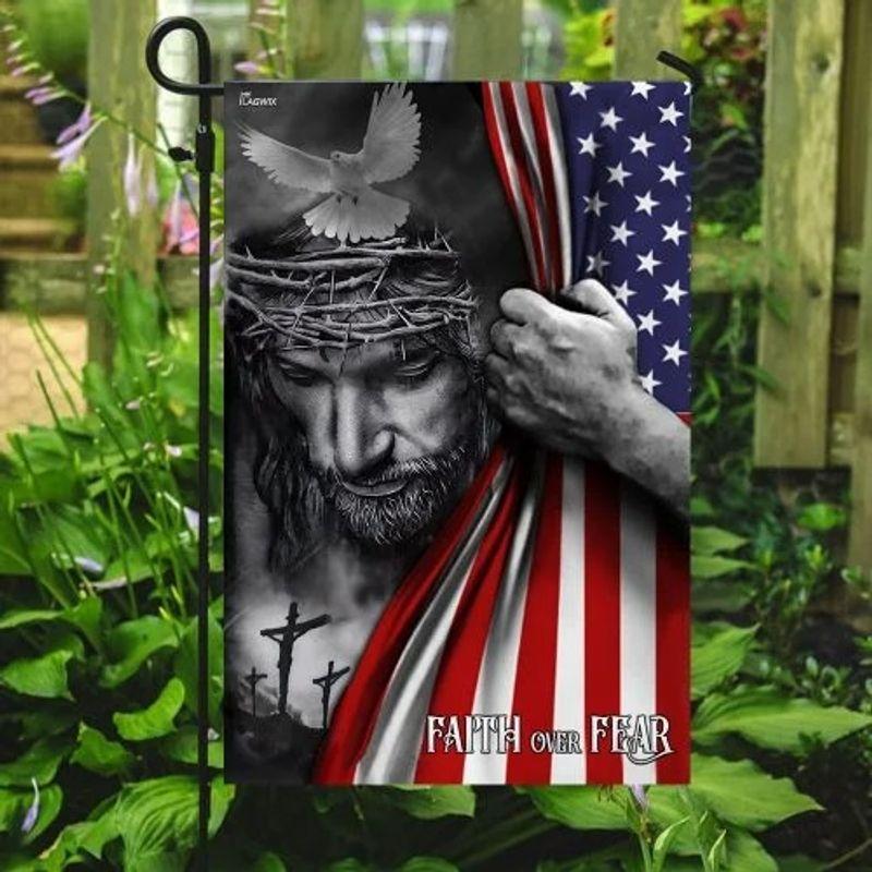 Faith over fear god Jesus American flag 9