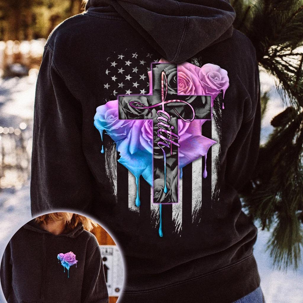 Faith rose skull watercolor 3D hoodie 9