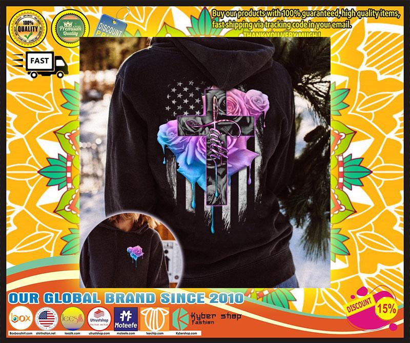 Faith rose skull watercolor 3D hoodie 10