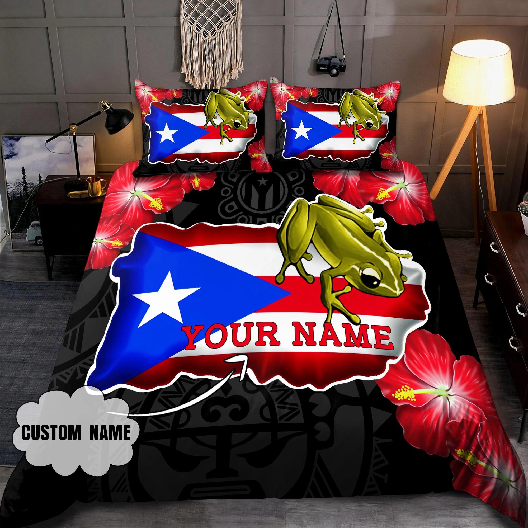 Frog Coqui and love puerto Rico custom name bedding set 9