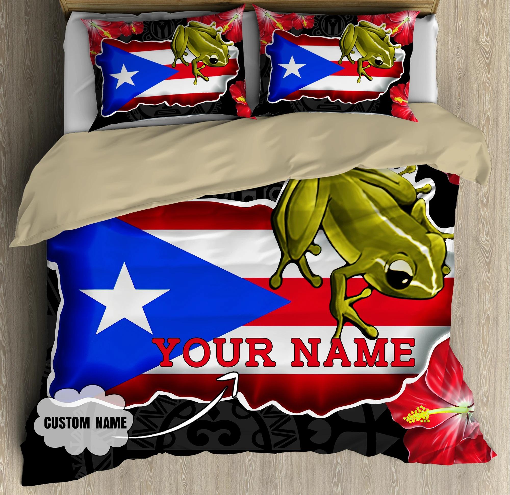 Frog Coqui and love puerto Rico custom name bedding set 7