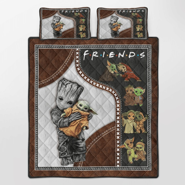 Groot and baby Yoda friend quilt bedding set 10