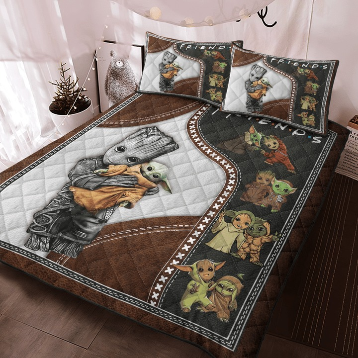 Groot and baby Yoda friend quilt bedding set 9