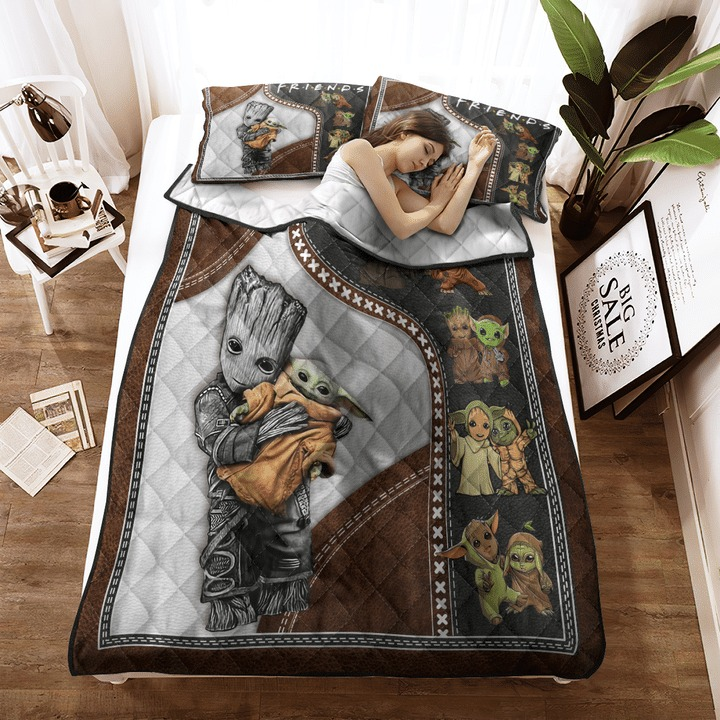 Groot and baby Yoda friend quilt bedding set 11