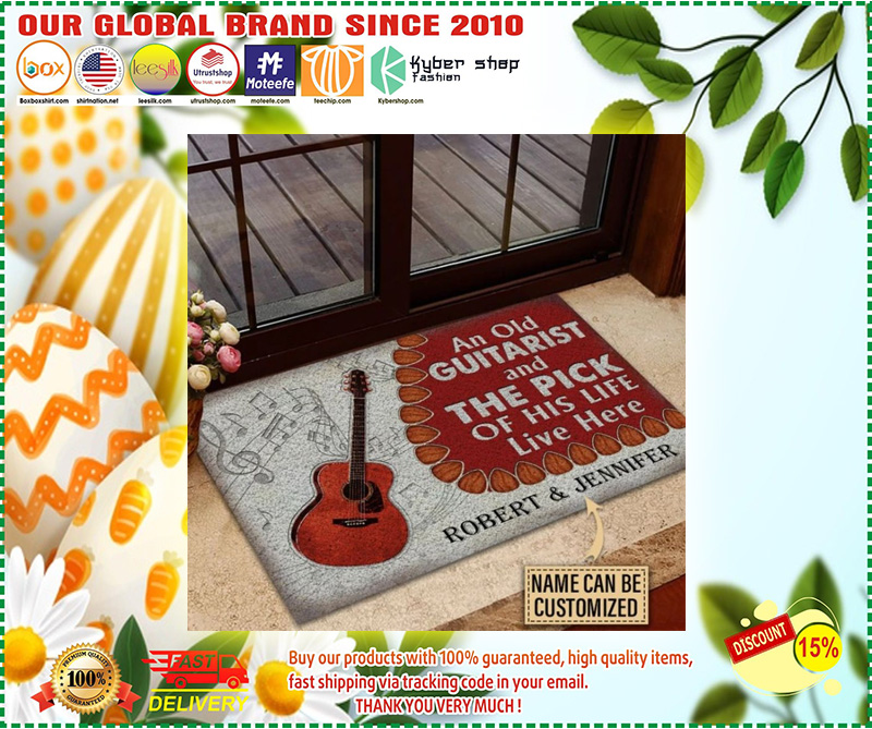 Guitar An ole guitarist and the pick custom name doormat 8