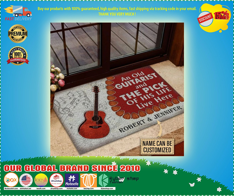 Guitar An ole guitarist and the pick custom name doormat 9