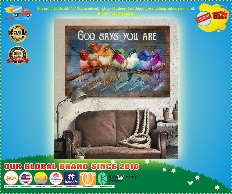 Hummingbird God says you are canvas 10