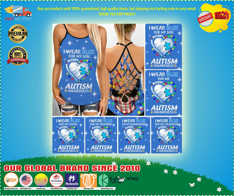 I wear blue autism awareness custom name Strappy tank top 11