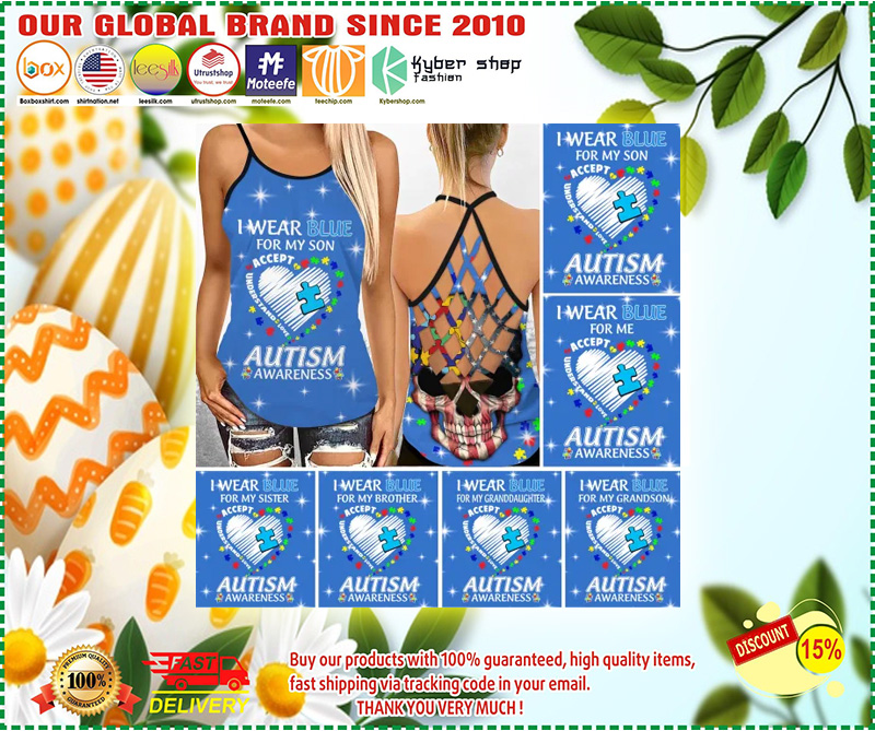 I wear blue autism awareness custom name Strappy tank top 10