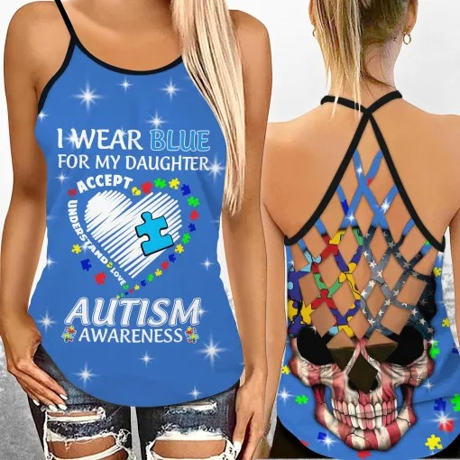 I wear blue autism awareness custom name Strappy tank top 1