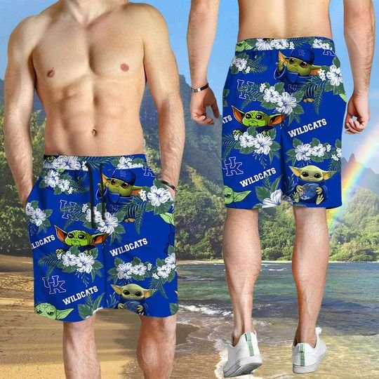 Kentucky Wildcats And Yoda Hawaiian And Beach Short 3