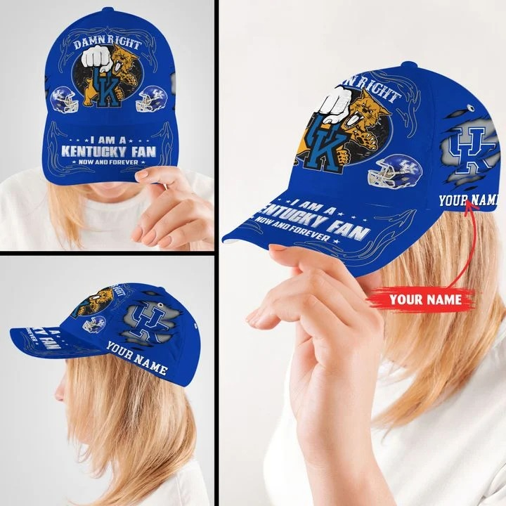 Kewi Damn right I am a Kentucky fan now and forever custom cap 8