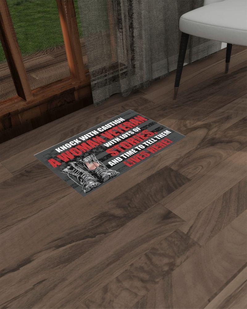 Knock with caution a woman veteran doormat 10