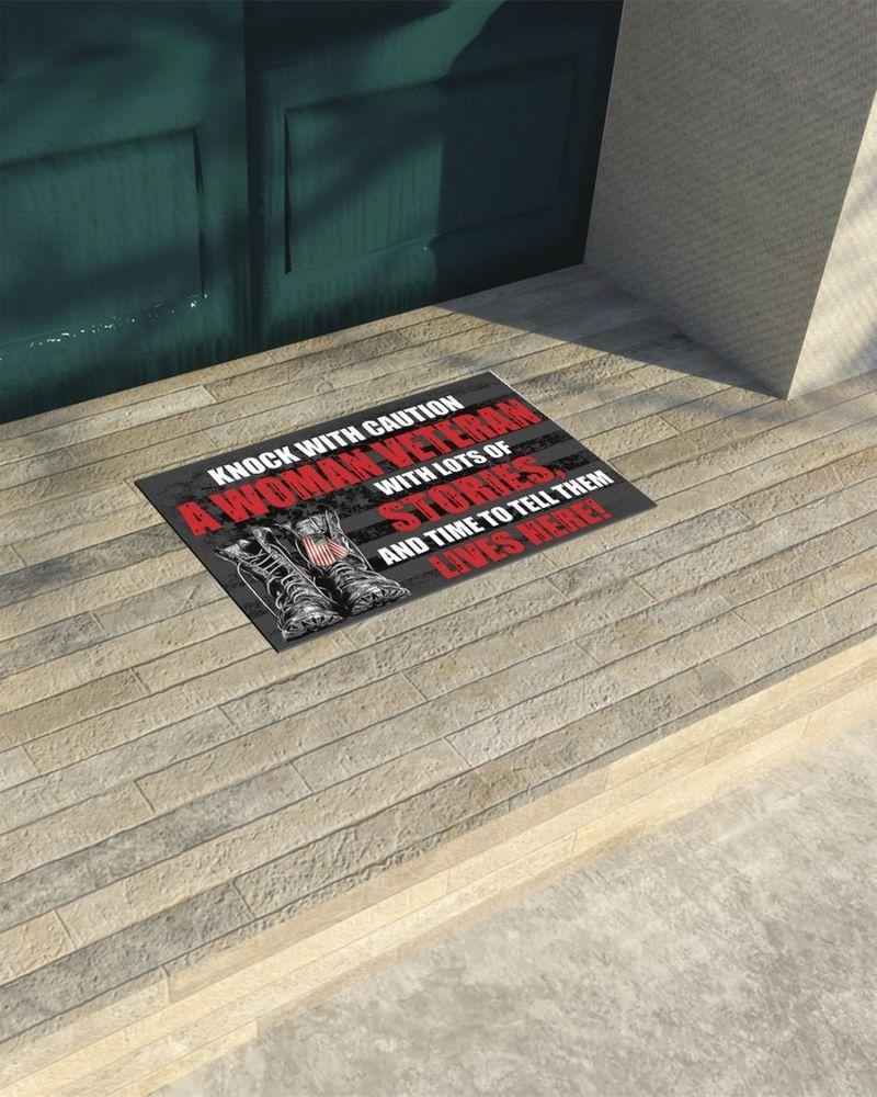 Knock with caution a woman veteran doormat 11