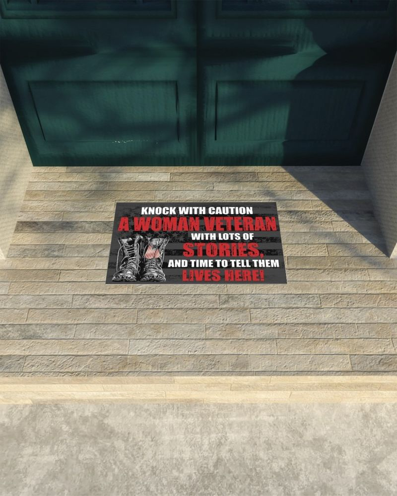 Knock with caution a woman veteran doormat 9