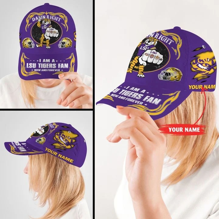 LSTI Damn right I am a LSU Tigers fan now and forever custom cap 8