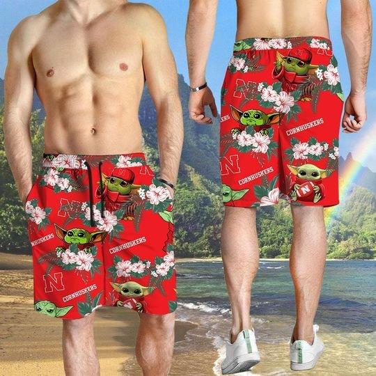 Nebraska Cornhuskers And Yoda Hawaiian And Beach Short 3