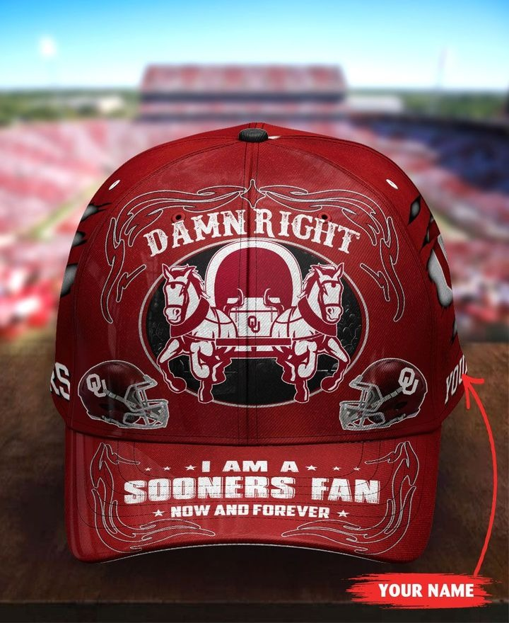OKSO Damn right I am a Sooners Fan now and forever custom name cap 7