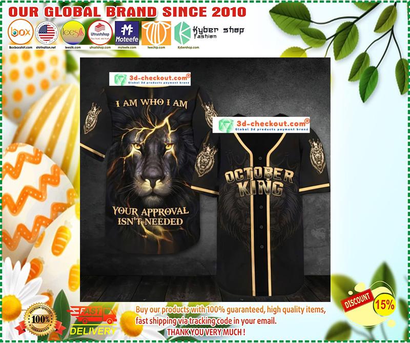 October lion king I am who I am Baseball Jersey 10