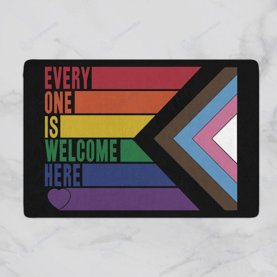 Rainbow LGBT Everyone is welcome here doormat 3