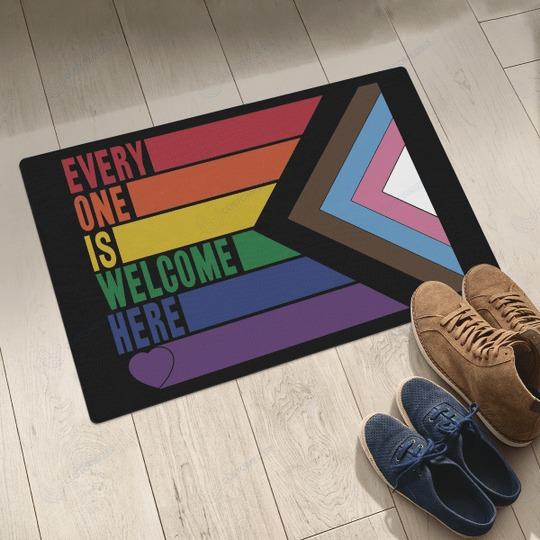 Rainbow LGBT Everyone is welcome here doormat 2