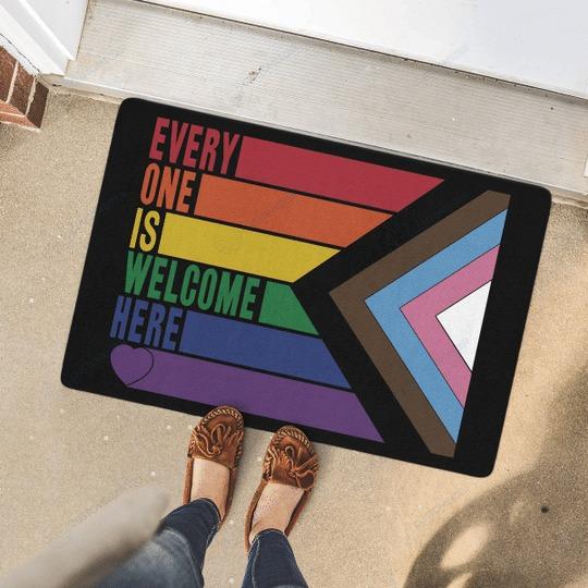 Rainbow LGBT Everyone is welcome here doormat 1