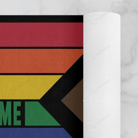Rainbow LGBT Everyone is welcome here doormat 4