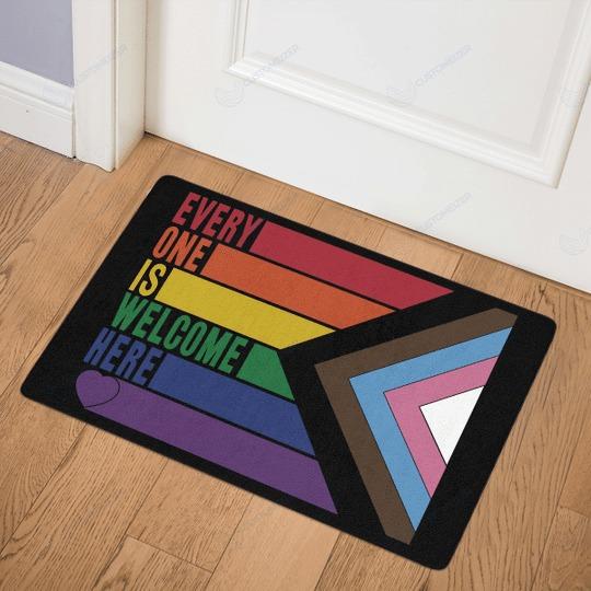 Rainbow LGBT Everyone is welcome here doormat