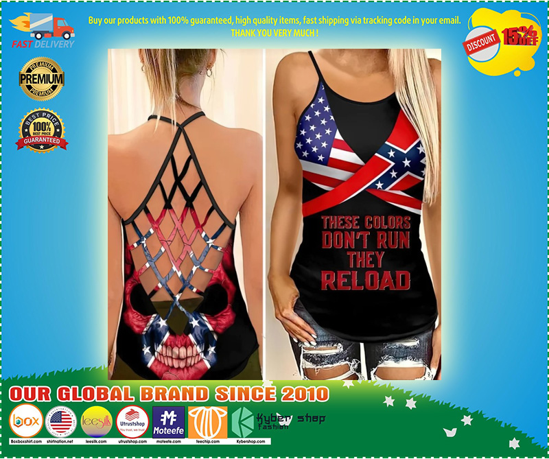 Skull American flag These colors don't run they reload cross camisole Strappy tank top 10