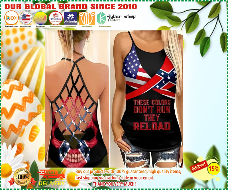 Skull American flag These colors don't run they reload cross camisole Strappy tank top 11