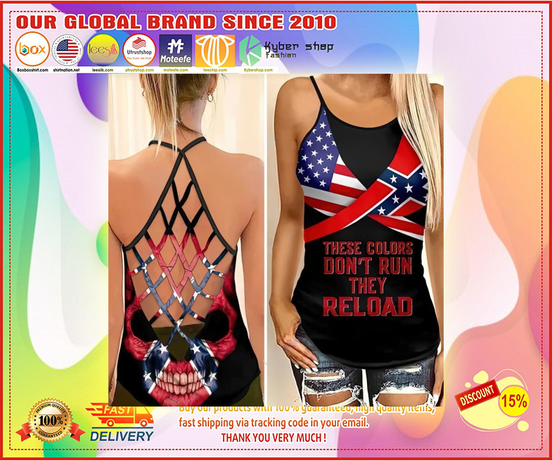 Skull American flag These colors don't run they reload cross camisole Strappy tank top 9
