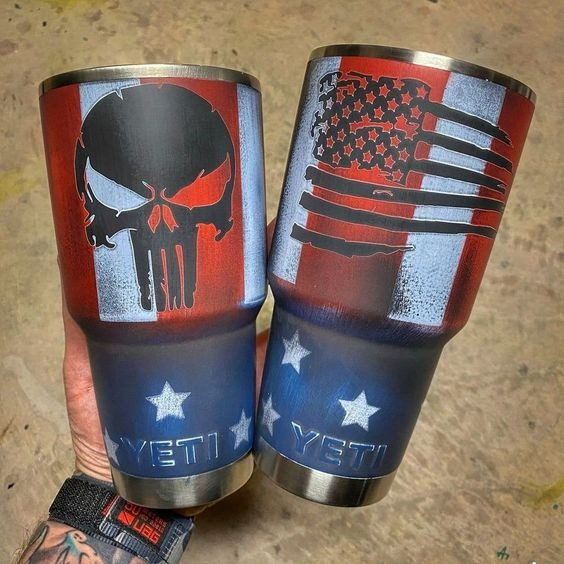 Skull American flag custom name tumbler