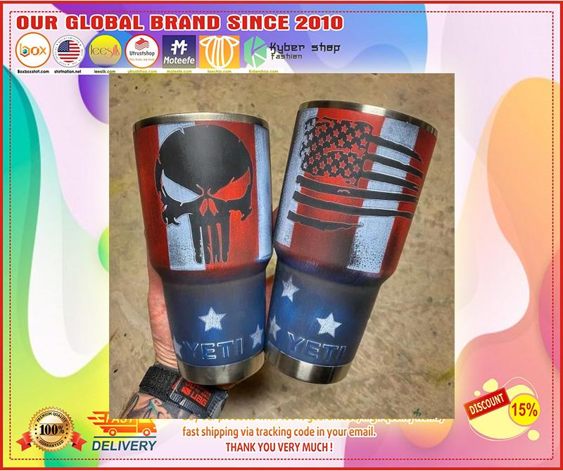 Skull American flag custom name tumbler 9