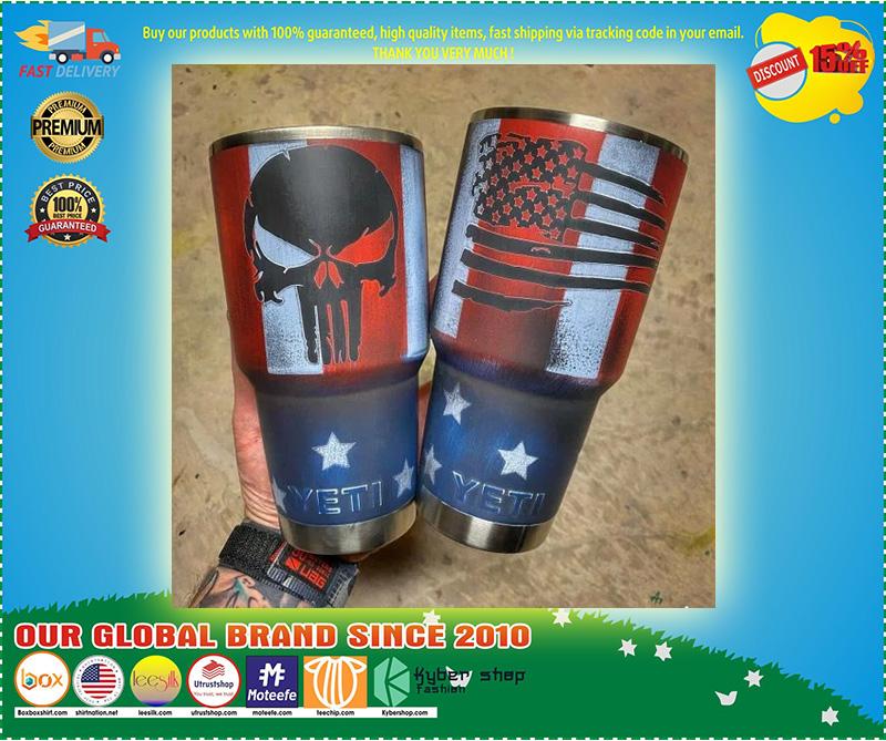 Skull American flag custom name tumbler 10
