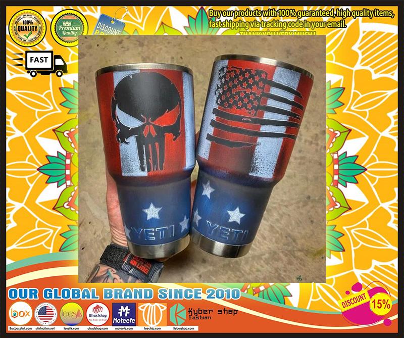 Skull American flag custom name tumbler 11