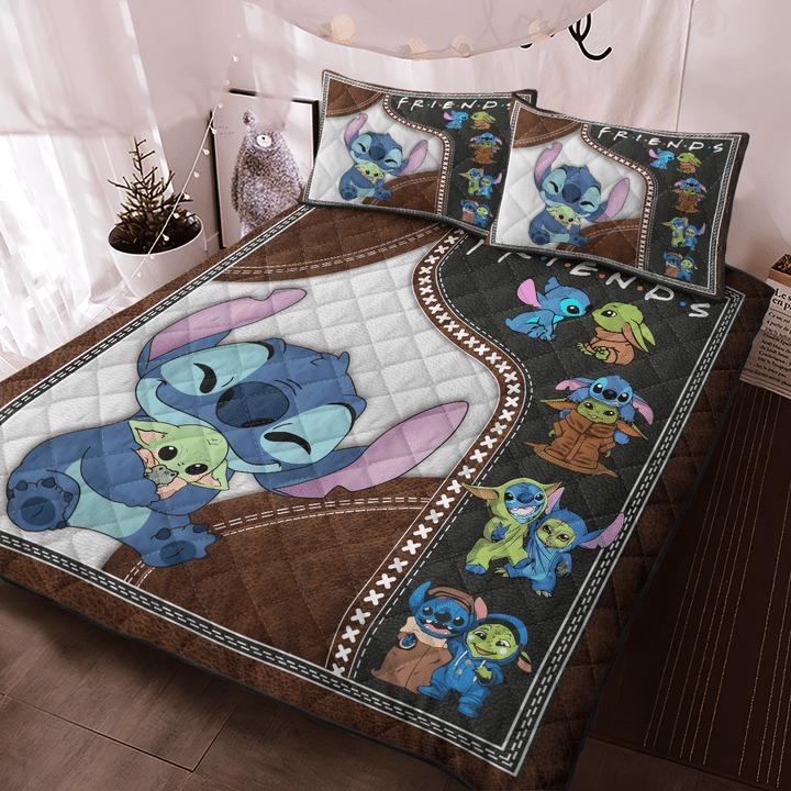 Stitch and baby Yoda friend quilt bedding set 9
