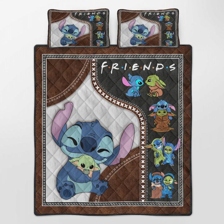 Stitch and baby Yoda friend quilt bedding set 10