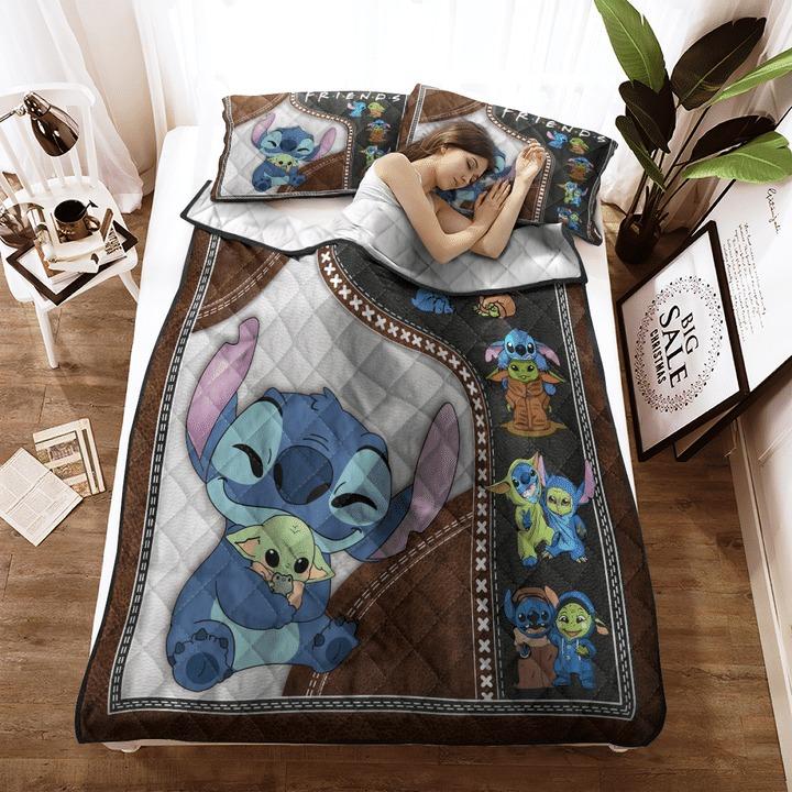 Stitch and baby Yoda friend quilt bedding set 11