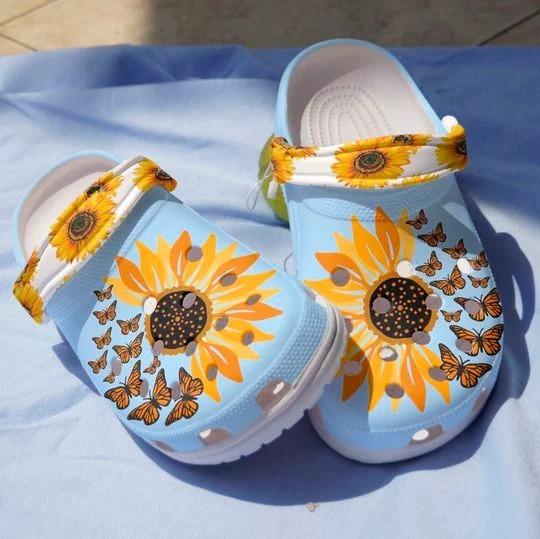 Sunflower butterfly crocs crocband clog