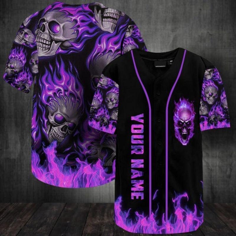 Sunny fire skull custom name baseball jersey shirt 11