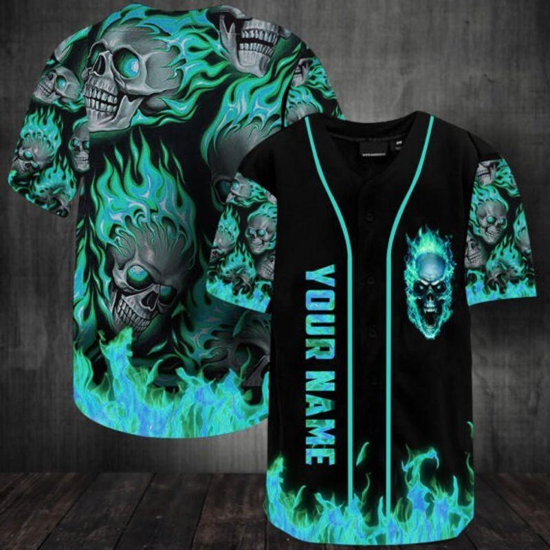 Sunny fire skull custom name baseball jersey shirt 13