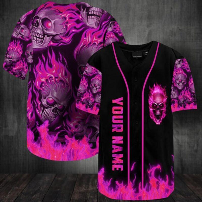 Sunny fire skull custom name baseball jersey shirt 14